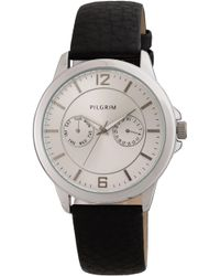 Pilgrim - Pretty Silver Plated And Black Watch - Lyst