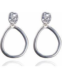 Anne Klein - Silver Drop Hoop Clip Earring - Lyst