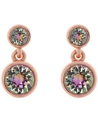 Karen Millen - Rose Gold & Crystal Dot Drop Earring - Lyst