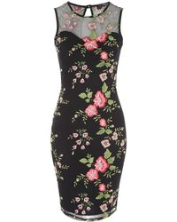 Jane Norman - Floral Mesh Embroidered Dress - Lyst