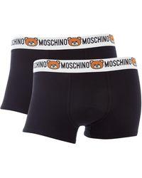 Moschino - Men's 2pk Logo Waistband Stretch Trunk - Lyst