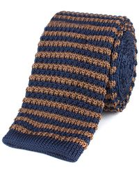 Gibson - Brown And Navy Stripe Knitted Tie - Lyst