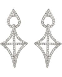 Mikey - Gothic Cross Oval Cubic Drop Earring - Lyst