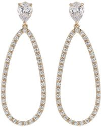 Mikey - Oval Design Cubic Filigree Back Earring - Lyst