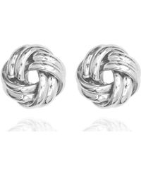 Anne Klein - Silver Knotted Stud Earring - Lyst