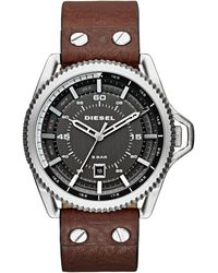 DIESEL - Men's 'rollcage' Gunmetal Dial Brown Leather Strap Watch Dz1716 - Lyst