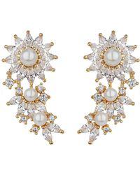 Mikey - London Cubic Daisy Flower Pearl Drop Earrin - Lyst