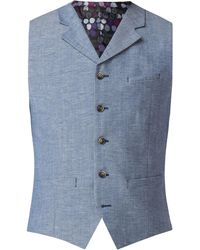 Gibson - Men's Pale Blue Waistcoat With Linen Flec - Lyst