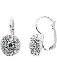 Monet - Rhodium Pave Crystal Leverback Earrings - Lyst