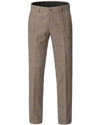 Gibson - Men's Fawn Check With Blue Overcheck Trouser - Lyst