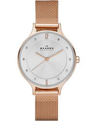 Skagen - Women's Anita Rose Gold-tone Stainless Steel Mesh Bracelet Watch 30mm Skw2151 - Lyst