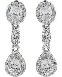 Mikey - Oval Cubics Square Edge Drop Earring - Lyst