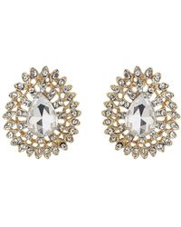 Mikey - Oval Edged Flower Stud Earring - Lyst