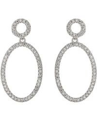 Mikey - Oval Circle Cubic Twin Hoop Earring - Lyst