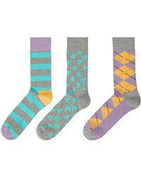 Happy Socks - Men's 3 Pack Argyle - Lyst