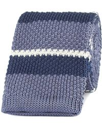 Gibson - Grey And Blue Striped Knitted Tie - Lyst