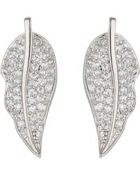 Mikey - Leaf Design Mini Cubic Earring - Lyst