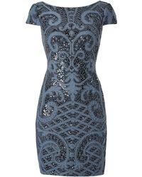 Adrianna Papell - Cap Sleeve Sequin Shift Dress - Lyst