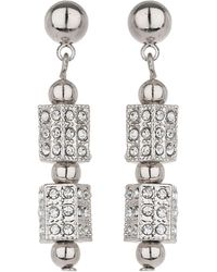 Mikey - London Small Cylinder Crystal Bead Earring - Lyst