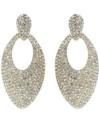 Mikey - Large Ablong Crystal Design Earring - Lyst
