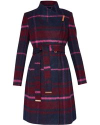Ted Baker | Fredye Check Long Wrap Coat | Lyst