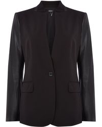 DKNY - Wool Jacket With Contrasting Fabric Sleeve - Lyst