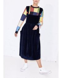 House of Holland - Oversized Cord Pinafore Dress - Lyst