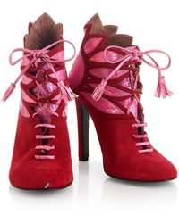 House of Holland - Ss15 'plaster Casters' Red/ Pink Tassel Suede Boots - Lyst