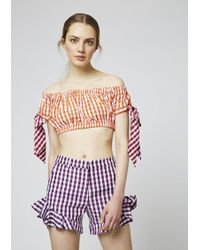 House of Holland - Gingham Cotton Frill Shorts - Lyst