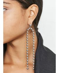 House of Holland - Silver Ball Chain Drop Earrings - Lyst