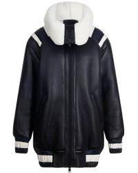 House of Holland - Black Shearling Varsity Jacket - Lyst