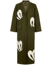 House of Holland - Khaki Green Floor Length Coat With Embroidered Eye Patches. - Lyst