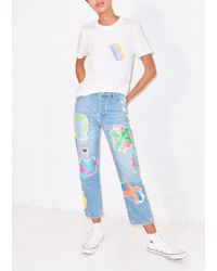House of Holland - Cross Transfer Print Boyfriend Jean - Lyst