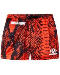 House of Holland - Umbro X Snake Print Swim Shorts (red) - Lyst