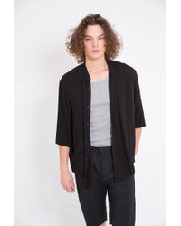 Assembly New York | Assembly Non Collar Black Crepe Shirt | Lyst
