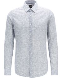 BOSS - Regular-fit Shirt In Italian Cotton With Rectangle Print - Lyst