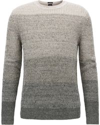 BOSS - Linen-blend Sweater With Half-cardigan Structure - Lyst