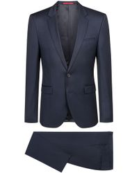 HUGO - Extra-slim-fit Suit In Pigment-dyed Virgin Wool - Lyst