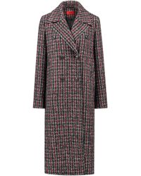 HUGO - Relaxed-fit Coat With All-over Two-tone Check - Lyst