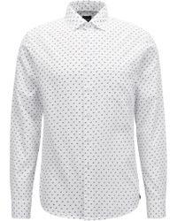 BOSS - Slim-fit Shirt In Cotton With Dog Motif - Lyst