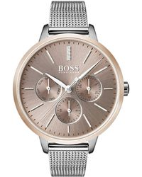 BOSS - Mesh-bracelet Watch With Genuine Diamonds - Lyst