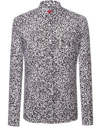 HUGO - Extra-slim-fit Cotton Shirt With Qr-code Print - Lyst