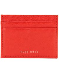 BOSS - Structured Card Holder In Italian Leather - Lyst