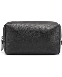 HUGO - Washbag In Grained Italian Leather - Lyst
