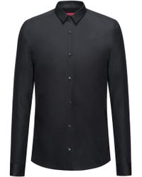HUGO - Stretch Cotton Button Down Shirt, Extra Slim Fit | Ero - Lyst