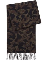 HUGO - Camouflage Scarf In A Brushed-wool Blend - Lyst