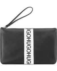 HUGO - Leather Pouch With Repeat Logo - Lyst