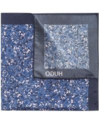 HUGO - Marble-patterned Italian Silk Pocket Square - Lyst