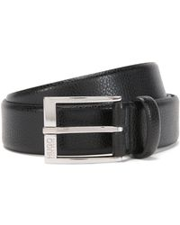 HUGO - Grained-leather Belt With Polished Pin Buckle - Lyst