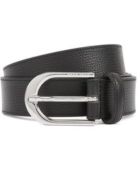 BOSS - Italian-leather Belt With Polished Silver-effect Buckle - Lyst